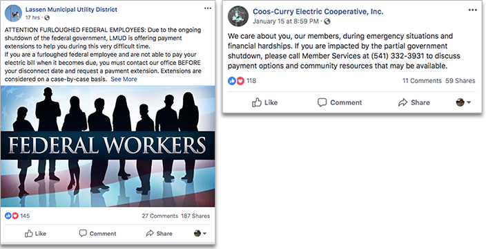 Lassen MUD and Coos-Curry Electric offered help to federal workers during the 2019 partial government shutdown