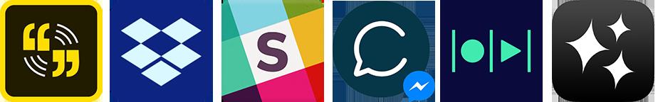 Six app logos: Adobe Spark, DropBox, Slack, Chatfuel, Magisto and Videolicious.